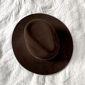 Janessa Leone chestnut color wool fedora Size S